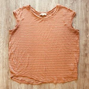 Cotton On Brown Gold Stripe Cap Sleeve T-Shirt Top